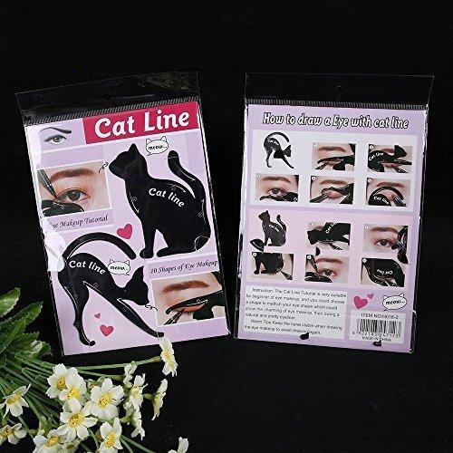 Tia-Ve Lot de 2 pochoirs pour maquillage des yeux pour femme Motif chat