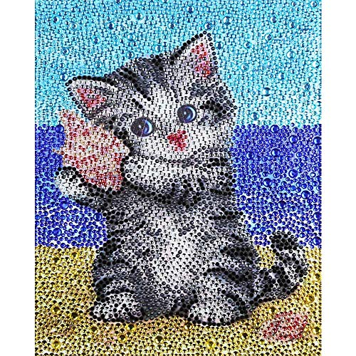 VVEEWUU 5D Diamond Painting by Number Kit Full Drill DIY Rhinestone Embroidery Mosaic Making Supplies for Kids Gifts (Beach Cat)
