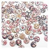 Botones artesanales de bricolaje hechos a mano 100 unids 2 orificios botones de flores mixtas para la costura Craft Scrapbooking DIY costura decorativo botones para niños Ropa WB662 Ropa accesorios de