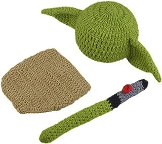 Newborn Infant Photography Prop Crochet Knit Baby Yoda Baby Photography Set Green