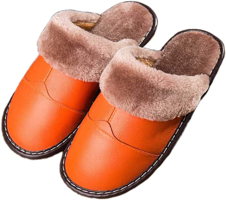 Nafanio Winter Slippers Genuine Leather Home Women Men Warm Plush Indoor Couple Bedroom House shoes