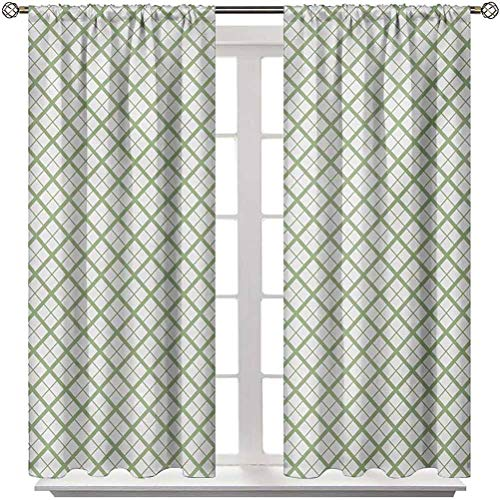 Kitchen Curtains Green Sun Blocking Print Curtains Picnic Table Inspired Modern Geometric Pattern in Square Shapes Retro for Patio & Hall Room Pistachio Green and White 2 Rod Pocket Panels 52'W x 63'L