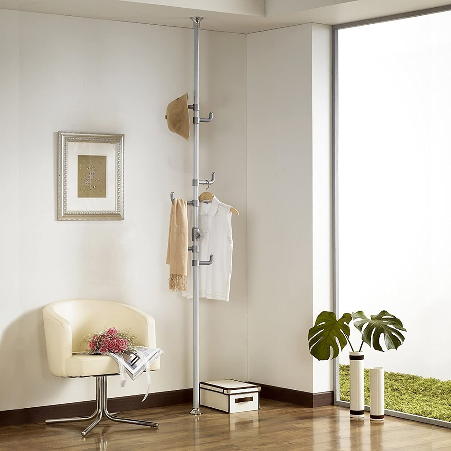 Prince Hanger One-touch Coat Rack, Silver, Steel