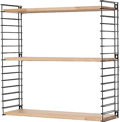 Metaltex Étagère fixable au Mur et réglable, Bois, Libro, Bois Dense, Wood/Black, 12 x 21 x 68 cm