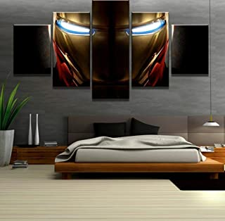 KTFBH 5 Pieces of Living Room Canvas Painting Hd Painting Iron Man Miracle Movie Picture Poster Canvas Art Wall Decoration Home Decoration Map-Framed