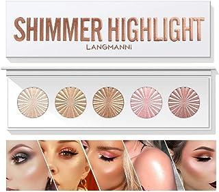 Highlighter Powder Palette، Makeup Palette Facial Bronzers Illuminator Palette Highlighter پخته شده ضد آب ضد آب با ماندگاری طولانی درخشان روشن کننده رنگ پوست رنگ صورت پودر