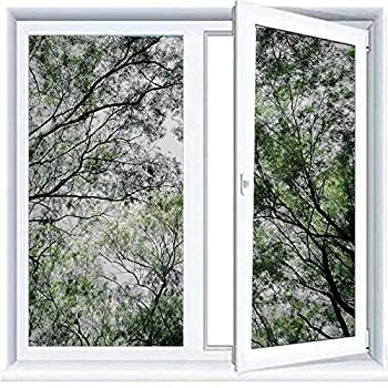 Hiiiman DIY Home Decoration Glass Stickers Window Film Forest Home Decor,Tree Branch in Spring Season Fairy Jungle Growth Nature Look Up Wood Scene,Green 35.4 x39  Door Tint Film Privacy