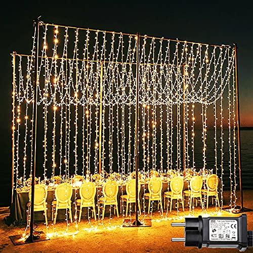 Joycome Tenda Luminosa, 600 LED Luci Natale Esterno Cascata, 6x3m Tenda Luci Impermeabilità IP44 con 8 Modalità, Addobbi Natalizi per Matrimoni, Feste, Giardino, Interni, Murali - Bianco Caldo