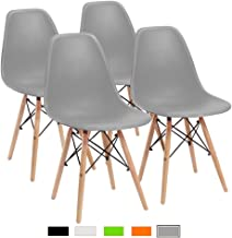 Furmax Pre Assembled Modern Style Dining Chair Mid Century Modern DSW Chair, Shell Lounge Plastic Chair for Kitchen, Dining, Bedroom, Living Room Side Chairs Set of 4(Gray)