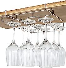 "Bafvt Wine Glass Holder - 3 Rows Stemware Rack Under Cabinet - 304 Stainless Steel Hanger Storage Shelf, Fit for The Cabinet 0.8"" or Less"