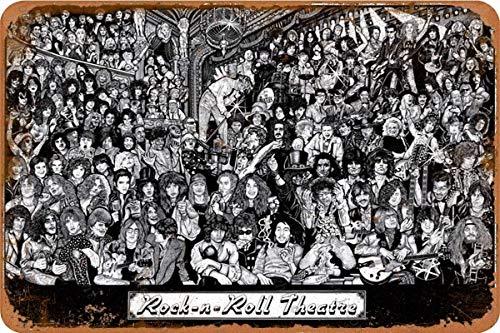 Rock & Roll Theatre Carteles de chapa vintage Cartel de chapa Retro Letrero de metal Placa Arte Decoración de pared 8 × 12 Pulgadas