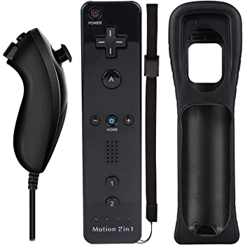 Wii Nunchuck Remote Controller with Motion Plus Compatible with Wii and Wii U Console | Wii Remote Controller with Shock Function (Black)