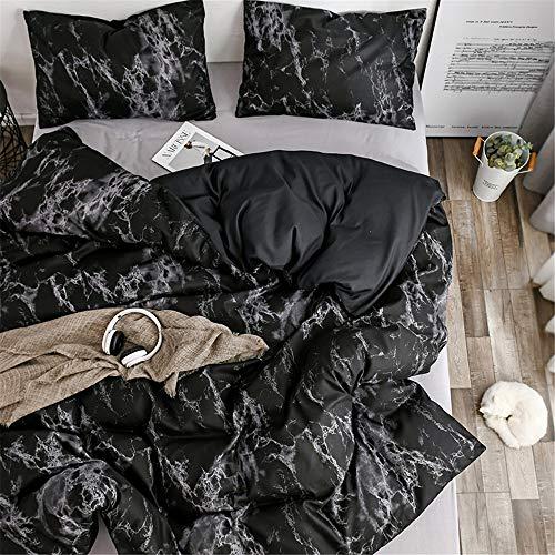 Treer Marmor Bettwäsche-Set, Kissenbezüge + Bettbezug Set Nordischer Stil Mikrofaser Super Weiche Deluxe Paar Junge Mädchen Bettwäsche Set (Schwarzer Marmor,200x200cm)