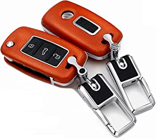 ontto Keyless Key Cover Case with Keychain Premium Leather ABS Plastic Key Fob Protector Skin Holder Fit for VW Volkswagen Jetta GTI Passat Golf 3 Buttons Orange