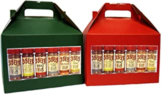 3 Beer Rub Christmas Gift Box - Variety Pack of 6 BBQ Rubs - BBQ Original, Smokin' Chipotle, Lemon, Thai, Garlic Herb, & T...