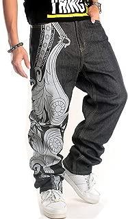 QBO Men's Hip Hop Embroidery Baggy Jeans Denim Loose Trousers