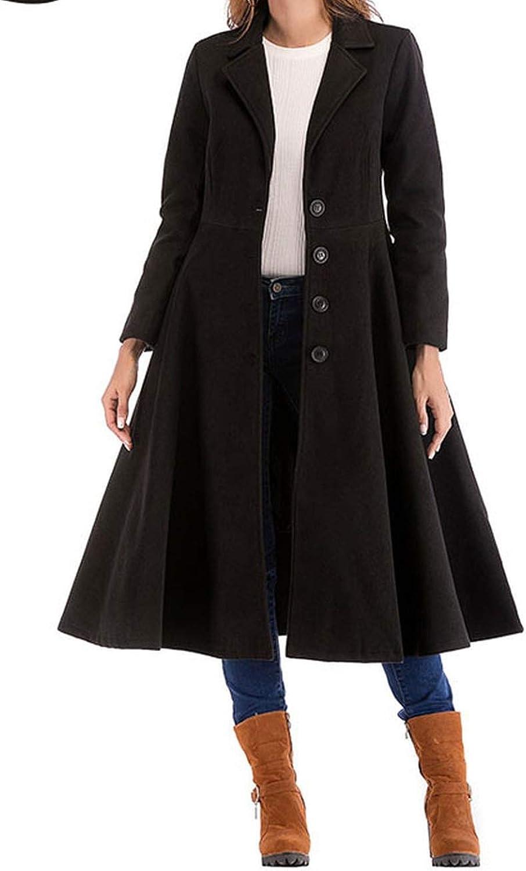 100Expectations fashion coat Long Woolen Solid Lapel Single Breasted Overcoat Sleeve Office Lady Elegant Coats