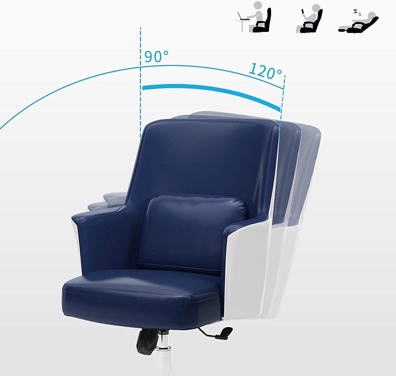 YF-Barstool Chaise de Bureau réglable en Cuir PU avec accoudoir de Direction à Domicile, Chaise pivotante, Jaune, Bleu, Marron, Noir Black