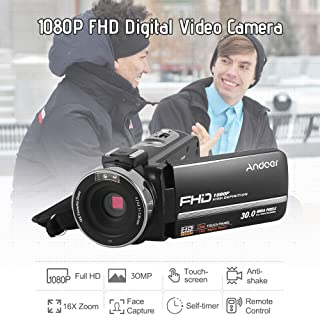 "Andoer HDV-301LTRM 1080P FHD Digital Video Camera Camcorder DV Recorder IR Nightshot 30MP 16X Digital Zoom 3.0"" LCD Touchs..."