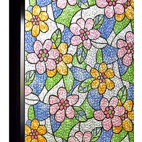DUOFIRE Decorative Film Privacy Window Film Stained Glass Film No Glue Anti-UV Removable Window Cling Non-Adhesive Window Privacy Film DF87-Y055 (17.7in. x 78.7in.)