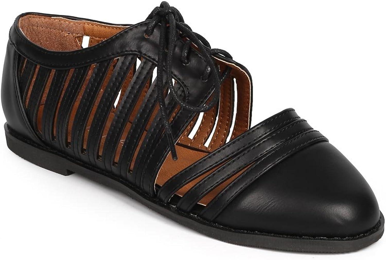 Liliana Women Leatherette Cap Toe Caged Cutout Oxford Flat DI55 - Black
