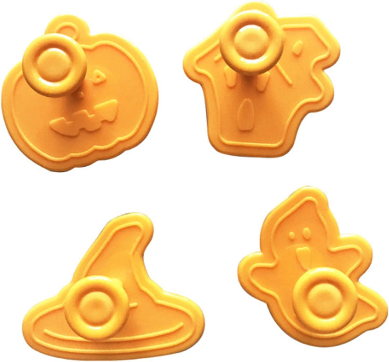 4 Max 65% OFF Pcs Halloween Pumpkin Ghost Easy-to-use Plastic Cookie Sugar Theme Fondant