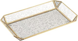 Artisanal Creations Vintage Style Jewelry Glass Tray – Decorative Antiqued Brass Frame Trinket, Cosmetic, Make-up Organizer – Handmade Jewelry Display Storage