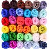 Fuyit Kit Lana Feltro 36 Colori 5g Matassa di Lana Merino Lavoro a Maglia Set per Cardata per Creativi DIY Hobby Fai da Te