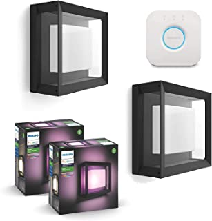 Philips Hue Econic Outdoor White & Color Wall & Ceiling Light Fixture Compatible with Alexa, Apple Homekit & Google Assistant (2-Pack) + Philips Hue Hub Smart Bridge