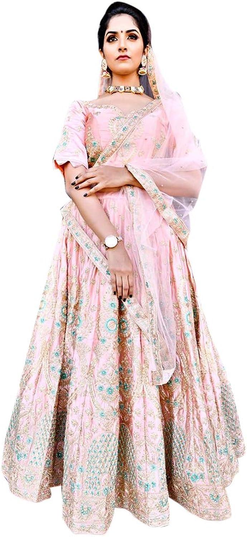 Indian Ethnic Pure Malai Satin Evening Party Semistitched Lehenga Choli Designer wear Bespoke B1991