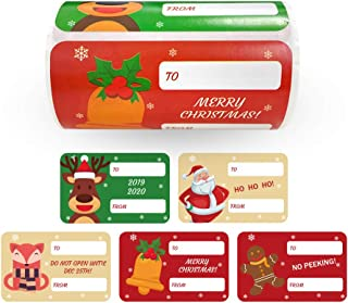 """Gift Label Stickers - 120-Count Christmas Gift Tag Stickers - to and from, Peel and Stick Self Adhesive Present Labels for Holiday Gift Box, Wrapping Paper, Gift Bag, 5 Designs, 3 1/2"""" x 2 1/4"""""""