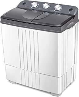 COSTWAY Washing Machine, 20Lbs Capacity, Washer(12Lbs)&Spinner(8Lbs), Portable Compact Laundry Machines Durable Design Washer Energy Saving, Rotary Controller and Washer Spin Dryer(Grey + White)
