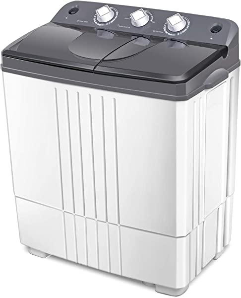 COSTWAY Washing Machine 20Lbs Capacity Washer 12Lbs Spinner 8Lbs Portable Compact Laundry Machines Durable Design Washer Energy Saving Rotary Controller And Washer Spin Dryer Grey White