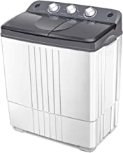 Giantex Portable Washing Machine Compact Twin Tub Washer and Spain Spinner Laundry Clothes Washer (12lbs for washing and 8lbs for Spinning- Gray+ White)