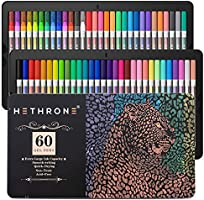 60 Color Gel Pens - Includes 16 Neon, 11 Pastel, 4 Standard, 16 Matallic, 13 Glitter for Adult Coloring Books (40% More Ink)