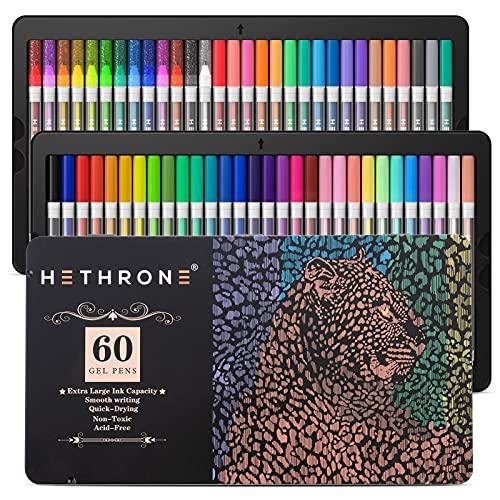 Gel Pens - Hethrone 60 Pack Colored Gel Pen with 16 Neon, 11 Pastel, 4...