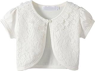 GSVIBK Little Girls Lace Cardigans Long Sleeve Lace Bolero Cardigan Shrug Button Closure Cardigan Cover Up Dress