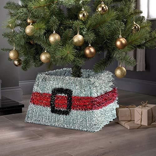 Taylor & Brown Xmas Christmas Tinsel Tree Skirt Stand Base Basket Cover Tidy Decor, Silver