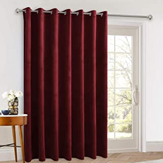 Extra Long Velvet Curtains 120-inch - Classic Style Home Decoration Blackout Porch Sliding Door Curtain Drapes for Chrismasday/Backdrops/Stage Hall, Red, 100 x 120 inches, 1 Pc