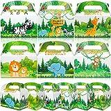 Qpout 12pcs Scatole per Alimenti per Feste Animali,Scatole di Caramelle per Feste di Compleanno per Bambini Picnic nella Giungla Regali per Feste di Matrimonio Scatola di imballaggio Vuota per Torta