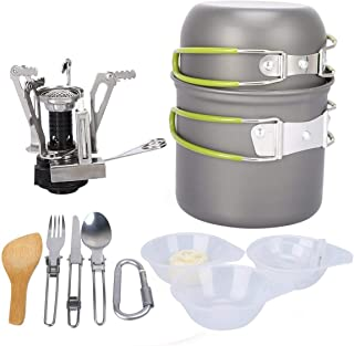 Outdoor supplies picnic cookware, portable stainless steel camping alcohol stove, camping set pot 1-2 people camping pot combination-green
