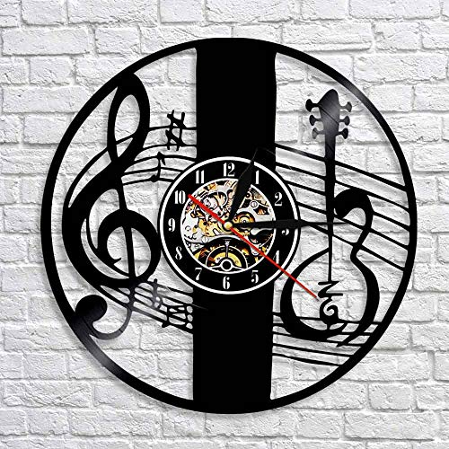 LED-Treble clef note key wall art decoration clock music note vinyl record 3D watch wall clock handmade gift music lovers