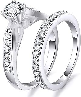 Vinsisty Stainless Steel Wedding Ring for Lovers,Crystal Couple Rings Set Men Women Engagement Wedding Rings,Love Gift