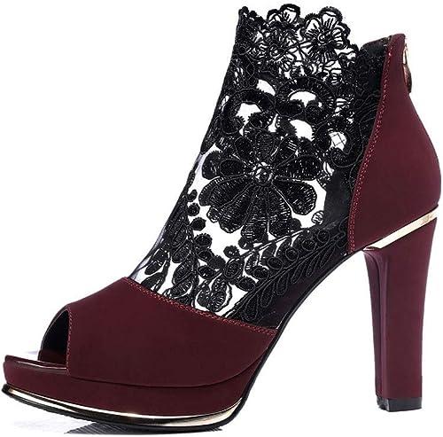 Chaussures pour Les Les dames, Sandales à Motif d'été pour pour Femmes en Dentelle, Bouche de Poisson, Chaussures à Talons Hauts et Talons épais