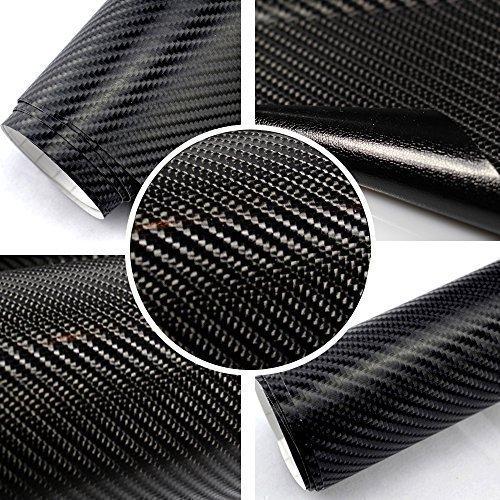 TipTopCarbon 6,57€/m² 4D Carbon Folie schwarz BLASENFREI 2m x 1,52m mit Luftkanäle Autofolie selbstklebend