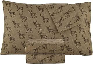 DELANNA Flannel Sheet Set 100% Cotton (King, Deer)