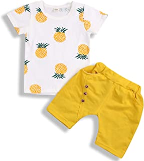 Toddler Kid Baby Boy Girl Summer Outfits Pineapple Shirt Fashion Shorts Casual Clothes Set
