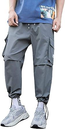 Pantaloni Uomo Cargo,ITISME Pantaloni Lunghi Primavera Autunno Taglie Forti Pantaloni Sportivi Ragazzi Tasche Laterali Coulisse Casual Tendenza Stretti Caviglia Trekking Jogging Hip Hop Street Pants