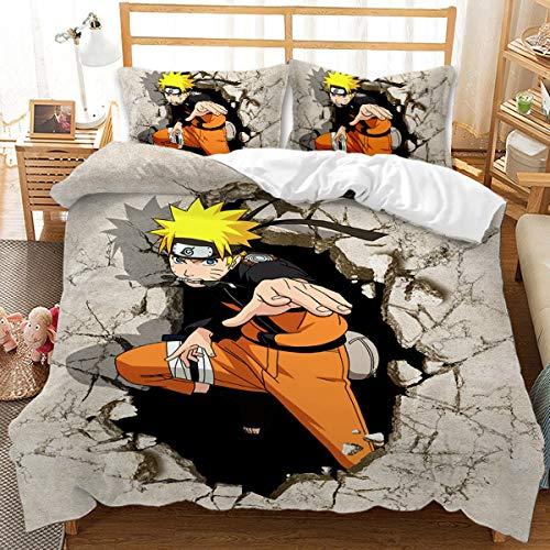 HAIFEI Juego de funda de edredón de Naruto Uzumaki con diseño de anime japonés en 3D, juego de funda de edredón para cama individual, Queen y King, para adultos y niños (140 x 210 cm)