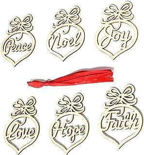 MLJ: 12 Piezas de Adorno de Madera para árbol de Navidad para Colgar Bolas Colgantes